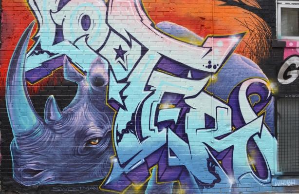 Nick Sweetman mural of a rhinoceros