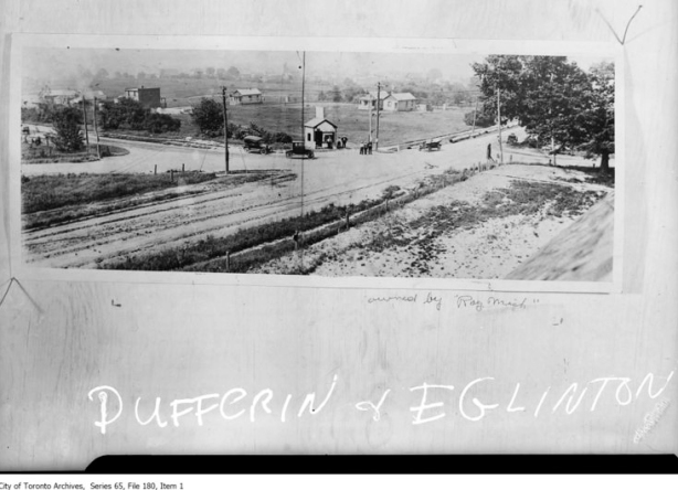 old black and white photo of dufferin and eglinton in 1919 showing narrow dirt roads and farms
