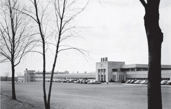 an old black and white photo of the IBM building on Don Mills Road in 1954