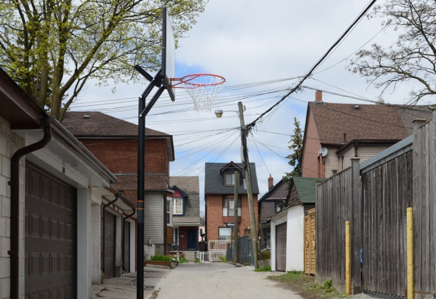 alley, laneway with a basketball net ready