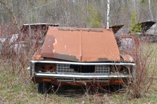 junked, old cars, McLeans Auto Wreckers, rusty orange car with front hood open but backwards, three other cars with front hoods open