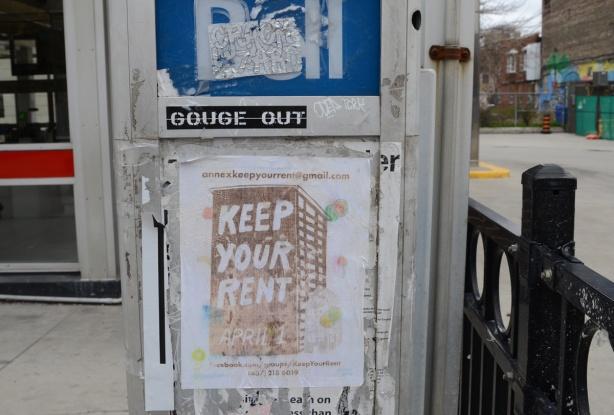 keep your rent sign, the Annex, April 1st, outside Bathurst subway station