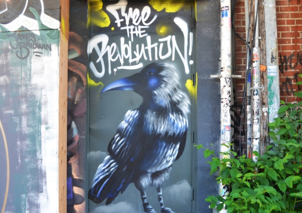 A mural in Graffiti Alley, a black bird with a dark blue beak, with the words Free the Revolution