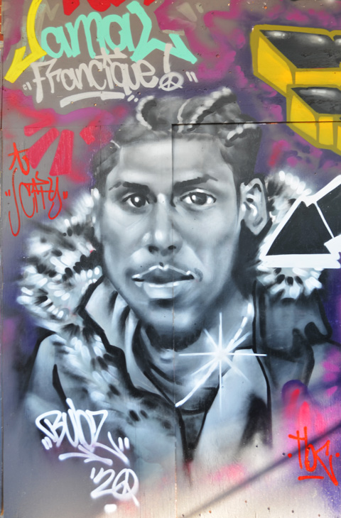 tribute mural to the memory of jamal francique, with his portrait