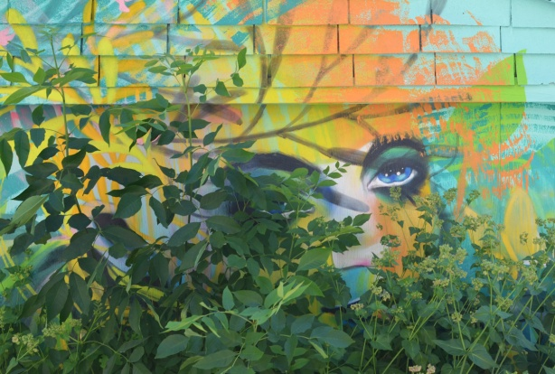 partially hidden by bushes and plants, a face street art mural by anya mielniczek