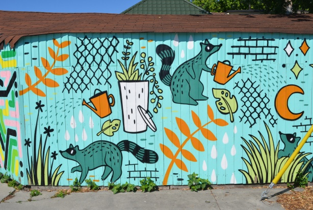 a raccoon mural, raccoon with watering can, gardening and looking after plants