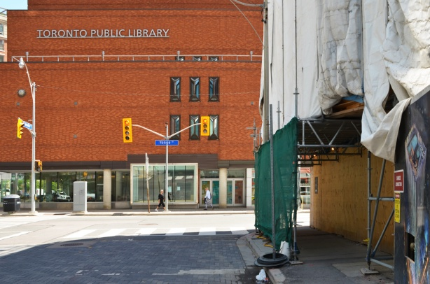 the Toronto Reference Library at Yonge and Asquith as seen from the west along Yorkville Ave