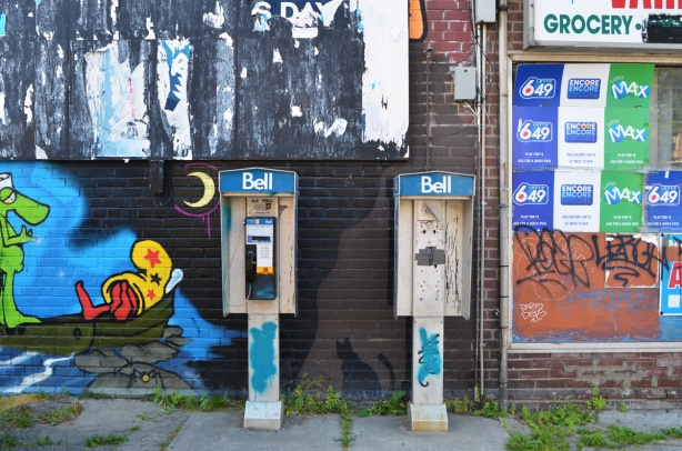 two old Bell telephone booths