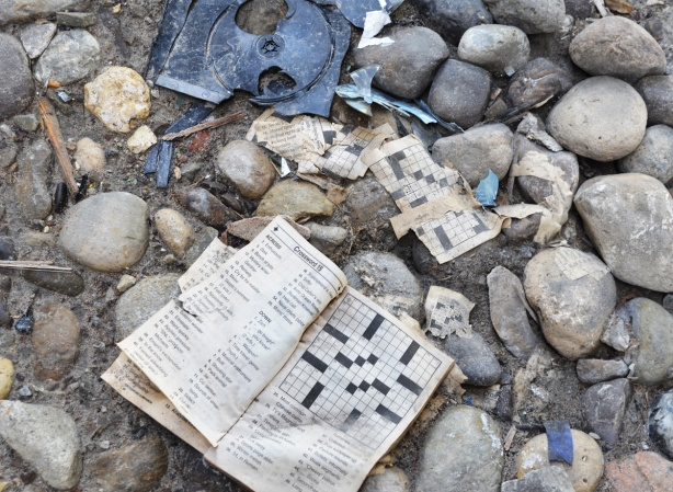 trash left behind, on the rocks under the Gardiner, a smashed plastic DVD or CD case and a paperback crossword puzzle book open to a crossword puzzle, with some bits of torn pages