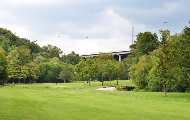 Don Valley golf course from the north end, looking towards the 401 bridge over the valley