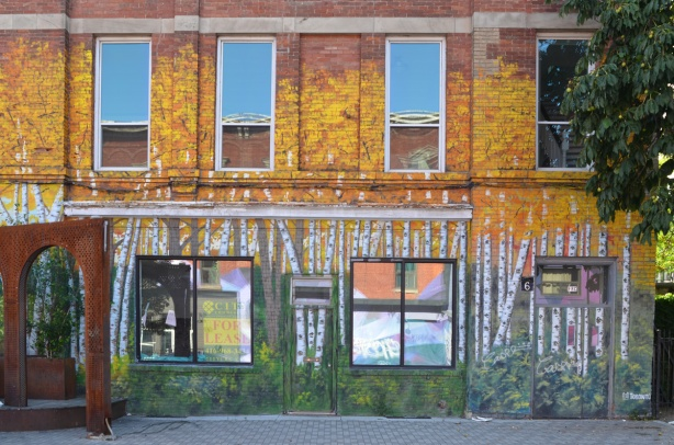 mural of a birch forest with golden yellow leaves on the side of a building, around the windows that are reflecting sky and buildings from across the street
