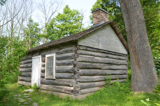 osterhout cabin, log cabin, from pioneer days, on the grounds of the Guild Inn
