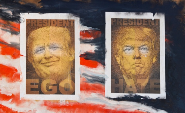posters on a wall in Graffiti Alley, of president trump, parody, president ego and president hate, on abstract America flag, caricatures of Trump just his face in each poster