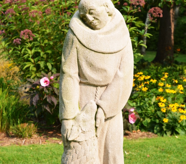 a small statue of St. Francis of Assisi with a wolf, in stone, in front of a flower garden