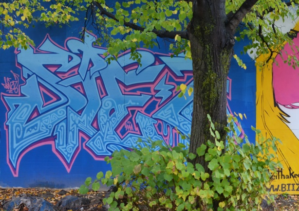 a tree in front of a text throw up mural in blues
