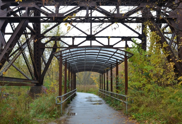 a metal canopy over a path and under a metal railway bridge