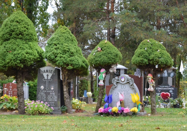 decorated monuments, tombstones at Pinehills cemetery