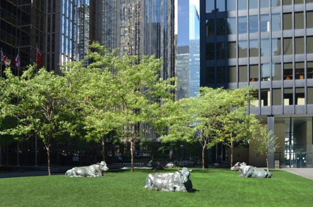 cows, public art sculptures, lying on the grass with tall black office tower behind