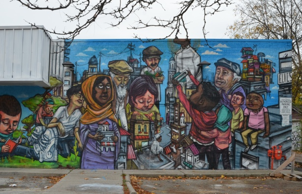 elicser mural, group of people