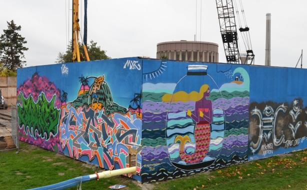 mural on hoardings near Ashvridge Bay water treatment facility, wallnoize project,