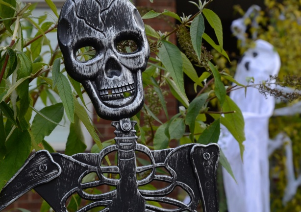 a black fake skeleton in a front yard, with a white ghost behind