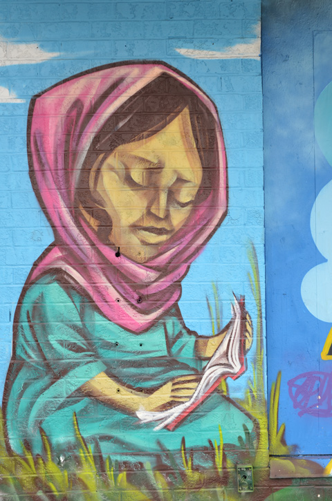 from a mural by elicser, a woman in a pink head scarf is reading a book