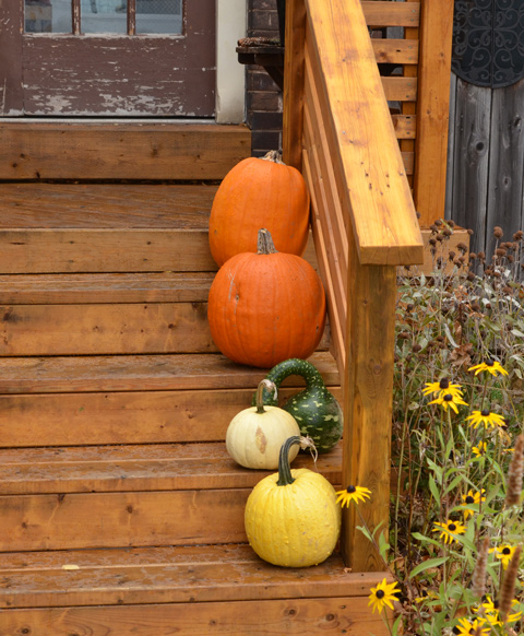 4 pumpkins outside on the front steps of a house