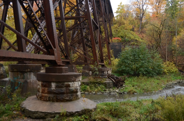 concrete footings on a metal railway bridge over the Don River