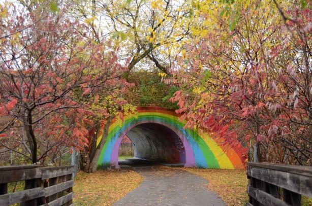 the rainbow bridge on the east don trail, a semi circle arch tunnel painted like a rainbow