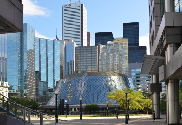 Roy THomson Hall and downtown buildings as seen from Metro Hall