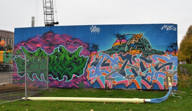 mural on hoardings near Ashvridge Bay water treatment facility, wallnoize project,