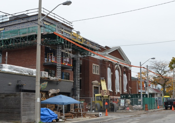 large old brick church, Temple Baptist church, is being redeveloped as residences, plus an addition added to one side of it
