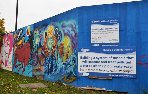 signs at the entrance to the construction site for the new ashbirdge's bay water treatment facility on Eastern Avenue.