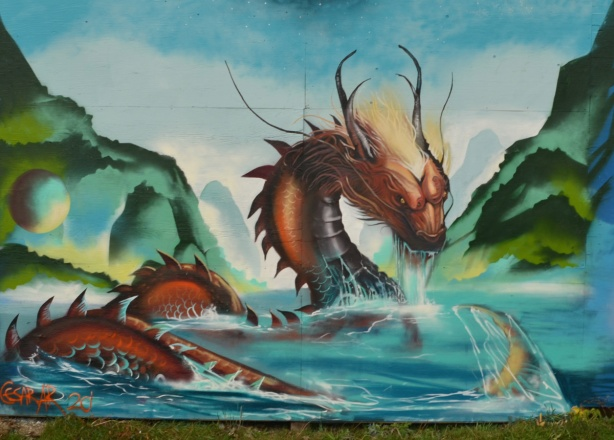 very realistic painting of a water dragon or monster in the water