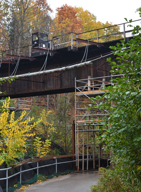 workmen on a railway bridge