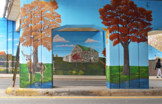 mural on railway underpass on Warden Ave by De Ann Lamirande, old stone house, Bells estate,