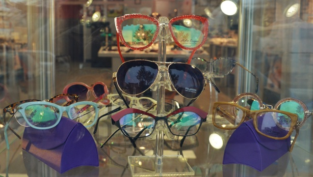 display of eye glasses in the window of a store