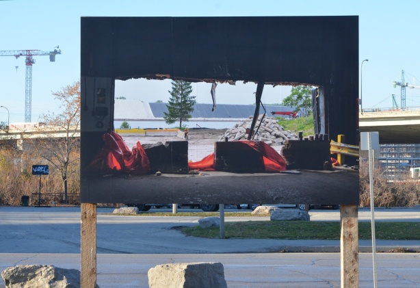large photo being displayed outside at Port Lands, part of Framework exhibit by Vid Ingelevics and Ryan Walker