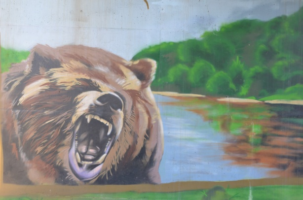 mural, picture of a growling bear's head