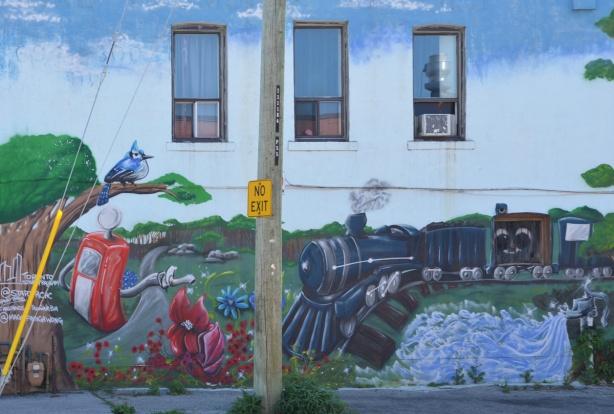 train in a mural