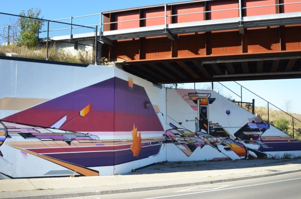 part of a mural by Mediah IAH Digital, train underpass on Finch Ave in Scarborough