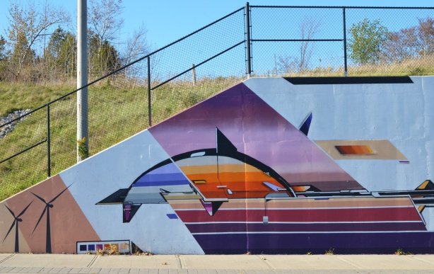 west end, part of a mural by Mediah IAH Digital, train underpass on Finch Ave in Scarborough