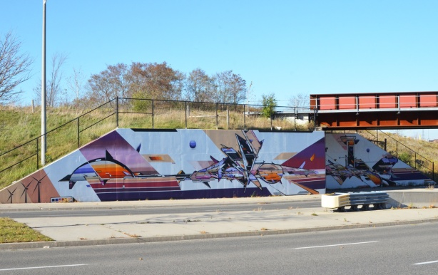 under the bridge, part of a mural by Mediah IAH Digital, train underpass on Finch Ave in Scarborough