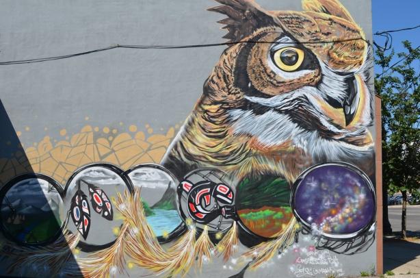an owl mural