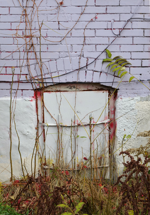 old window with metal bars painted over but rusting, board over window,