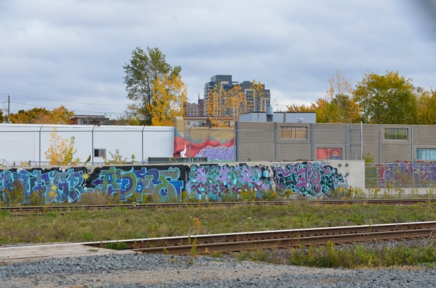a wall of street art on the other side of the railway tracks
