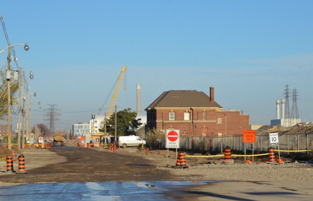 Commissioners street construction in the port lands