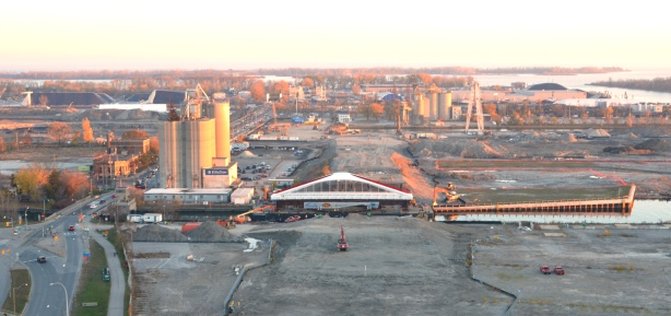 cherry street bridge and portlands from above