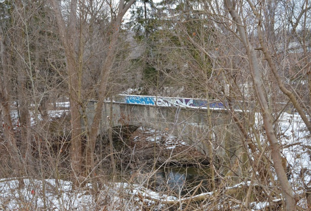 an old concrete bridge over the Don River by Bayview, some graffiti on it, seen through the woods in winter, no leaves on the trees, over the Don River,