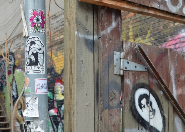 stickers and paste ups in graffit alley